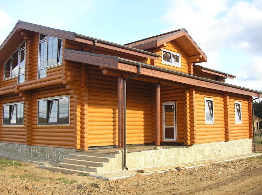 большой дом из бревна