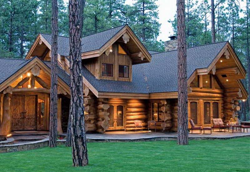 рубленный дом в лесу