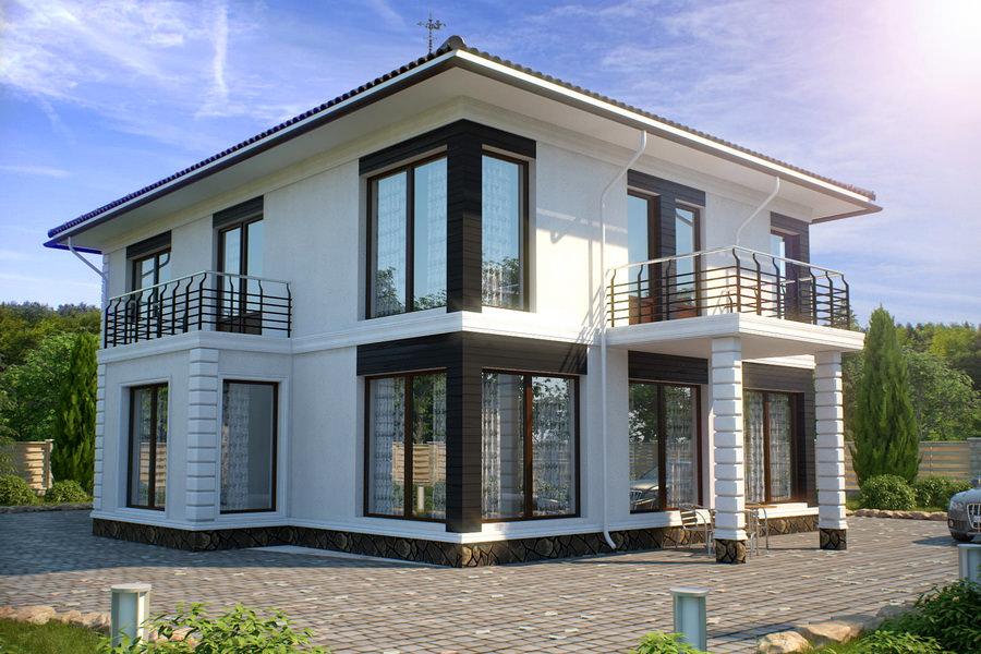 Двухэтажный бетонный дом