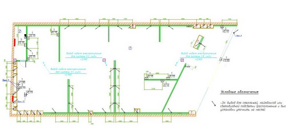 план размещения электровыводов и розеток